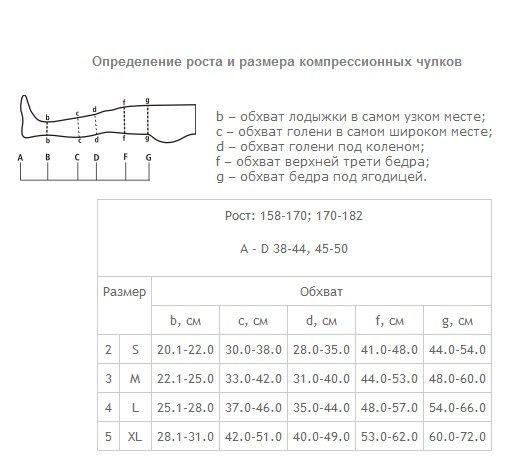 определение размера компрессионных чулков