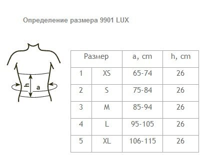 таблица размеров пояс медицинский эластичный фиксирующий послеоперационный ELAST 9901 LUX