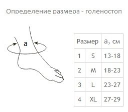 определение размера повязки на голеностопный сустав