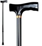 Телескопическая трость с Т-образной деревянной ручкой (хром)