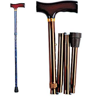 Телескопическая складная трость с Т-образной деревянной ручкой (черная)
